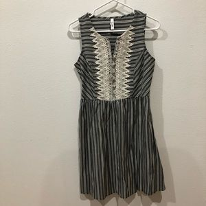 Xhilaration Dresses - Vintage grey and white striped dress